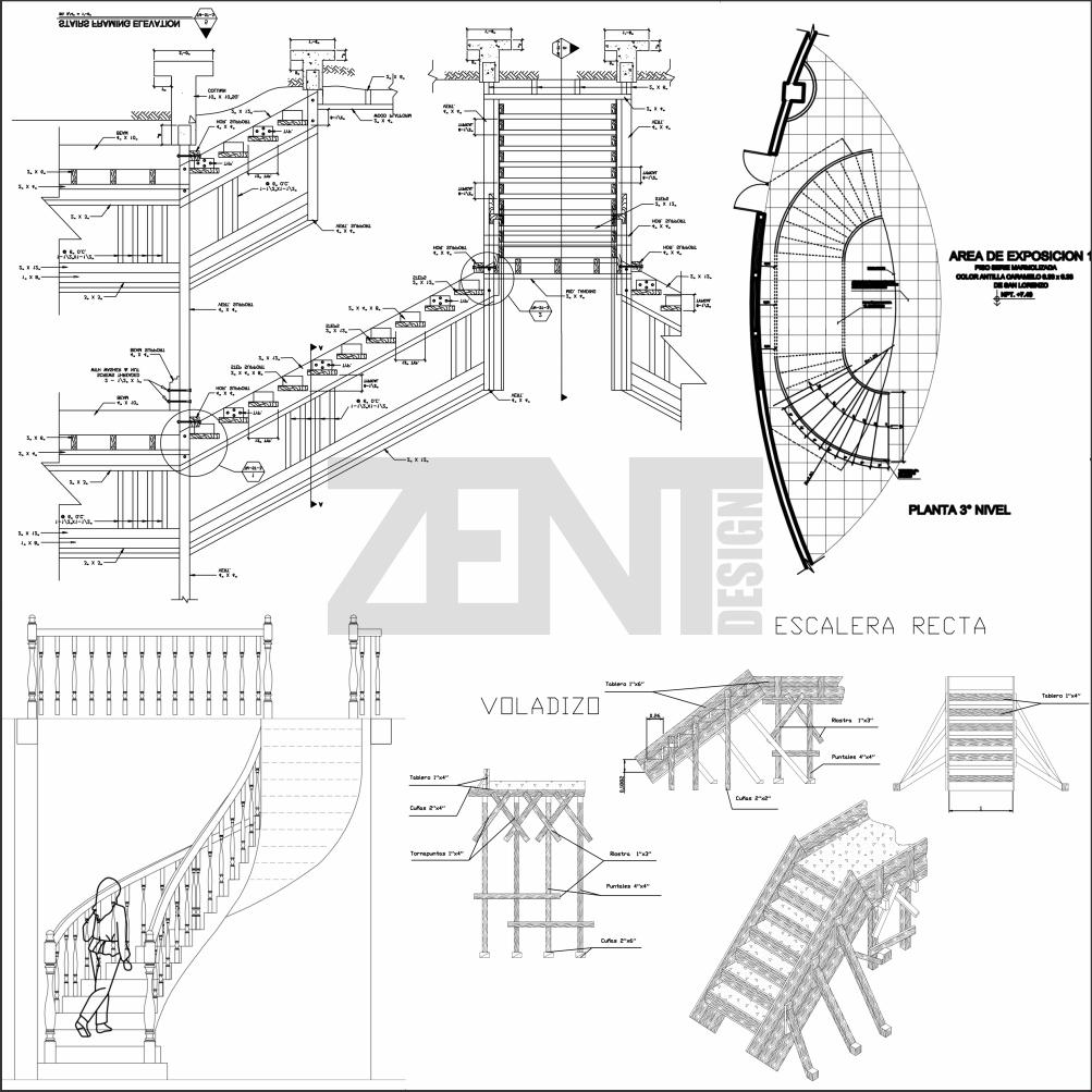 escaleras de madera planos wooden stairs zent design 2d
