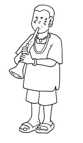 Dibujos para colorear de indigena con flauta