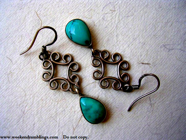 Fabindia Vintage Jewellery Silver Ear Rings Torquoise