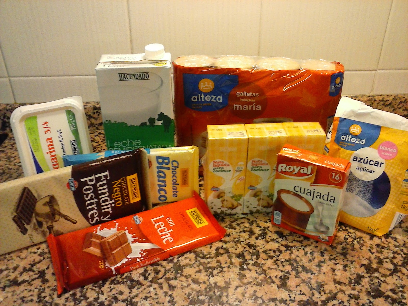 Ingredientes tarta de tres chocolates