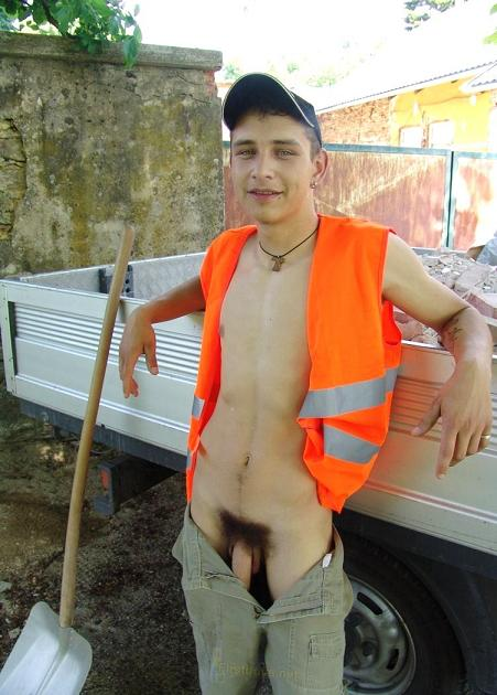 Naked male contruction workers