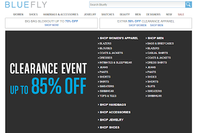 On this labor day, Bluefly offers a sale off up to 85% for clearance. This is a big sale that you can't ignore.