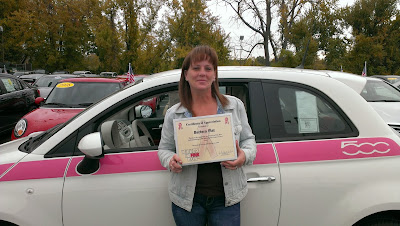 Mary Duquette from Bertera drove our 2013 Fiat 500 in the Wicked in Pink Motorcycle Run from Southampton to Holyoke!