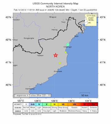 Sismo artificial en Corea del Norte, 12 de Febrero 2013