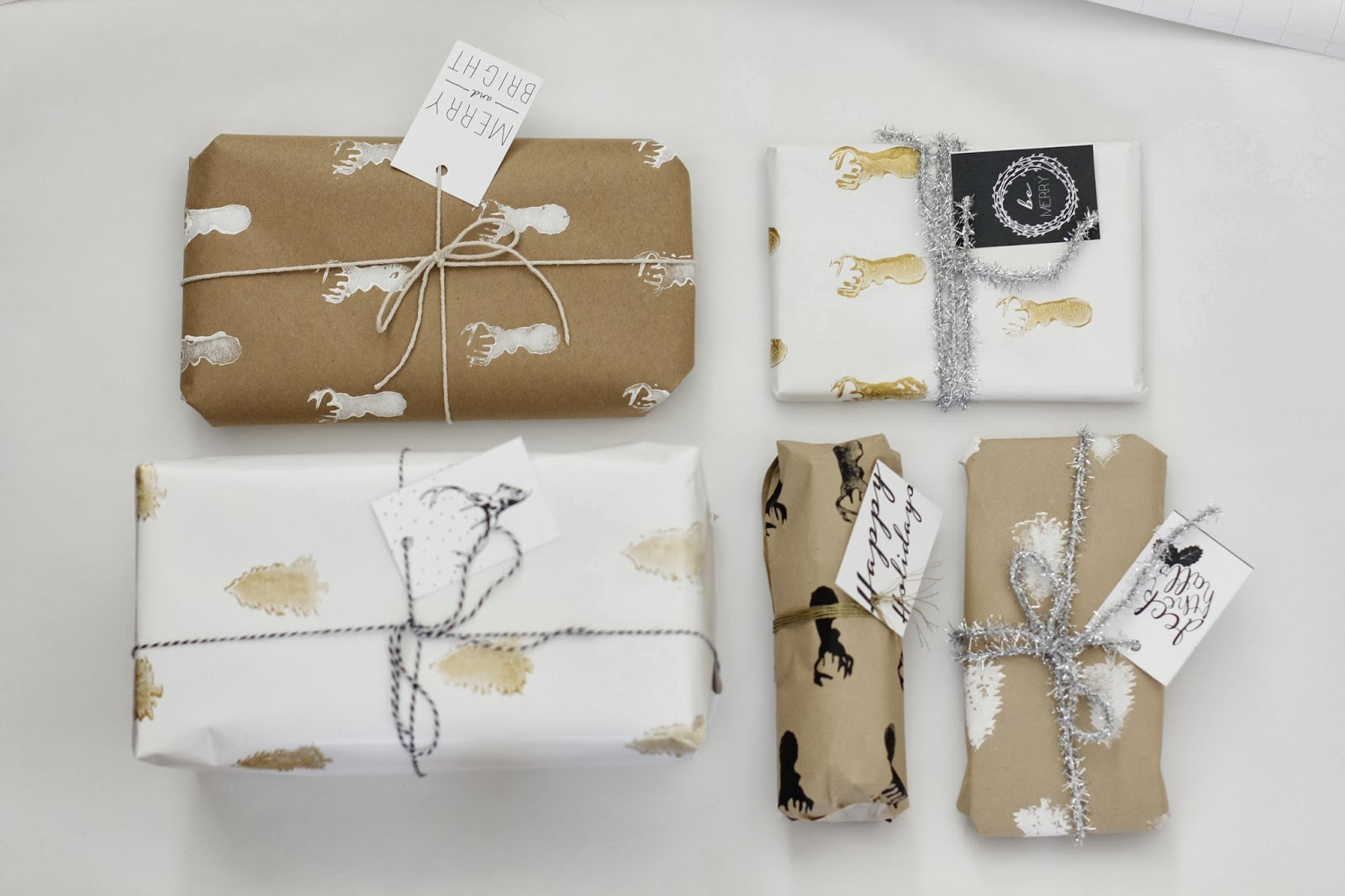 Golden Stamped Wrapping Paper