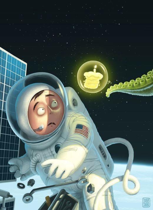 Denis Zilber ilustrações divertidas caricaturas Feliz aniversário no espaço
