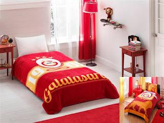 Taç Lİsanslı Galatasaray Artwork Battaniye +Parlayan Logo Nevresim Takımı Tek Kişilik