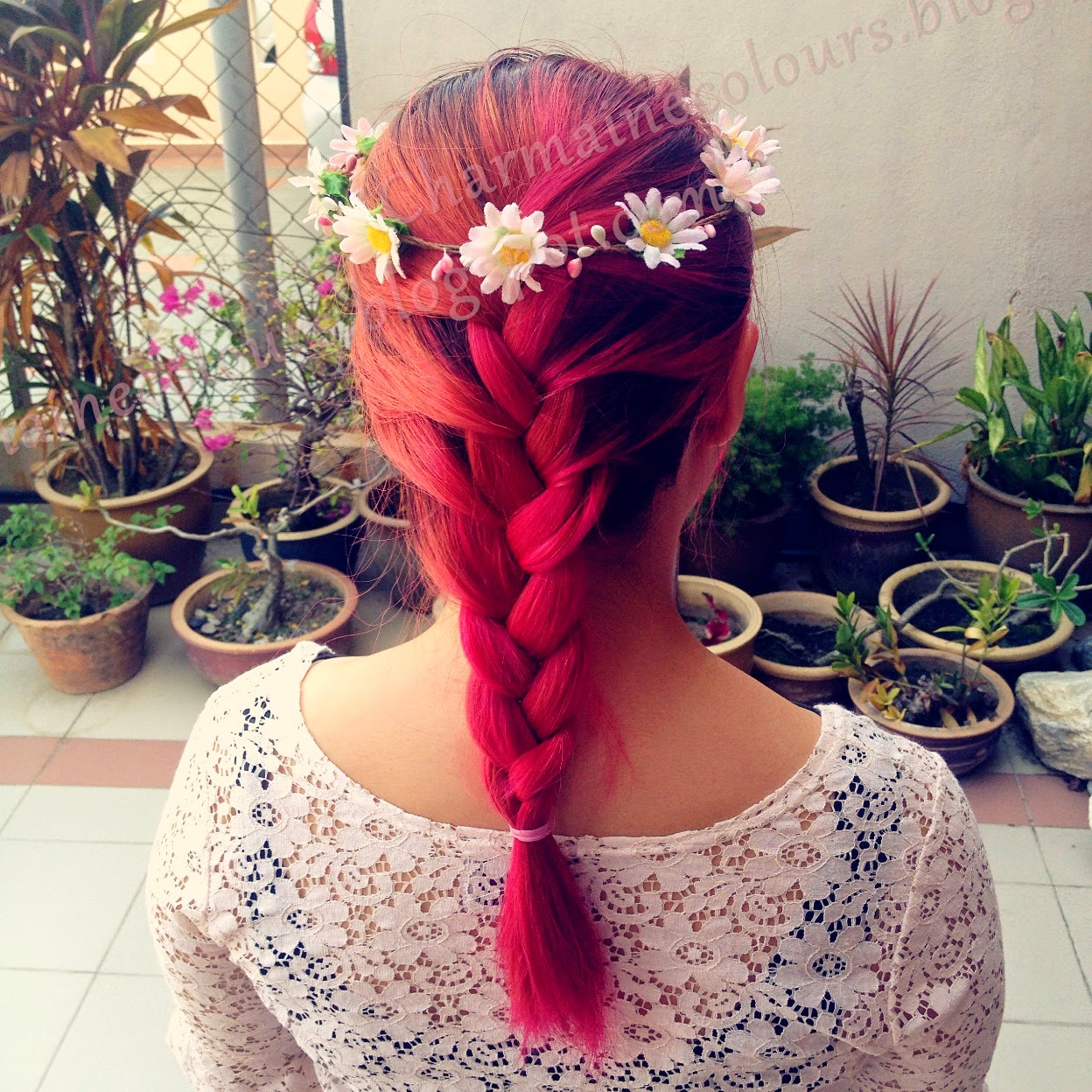 French Braid, Pink Hair, Magenta hair, Pink Orange Hair, Vibrant , Sweet hair