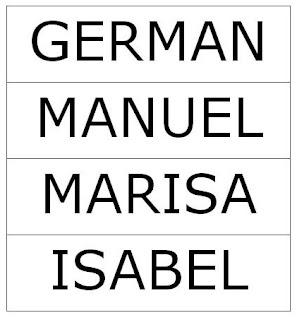 Tres líneas rectas separan los nombres de los cuatro amigos