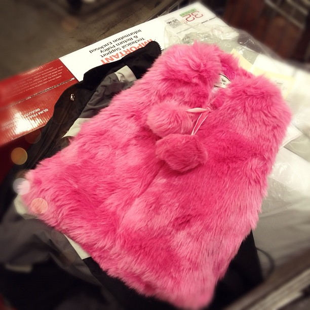 furry pink toddler vest, shopping cart