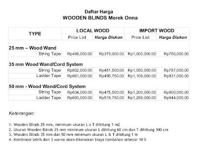 harga wood blind Onna