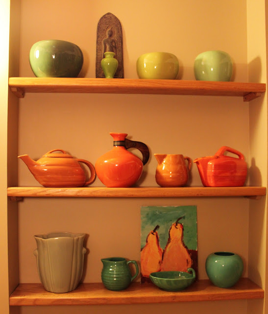 Bauer pottery orange green chartreuse turquoise Fred Johnson