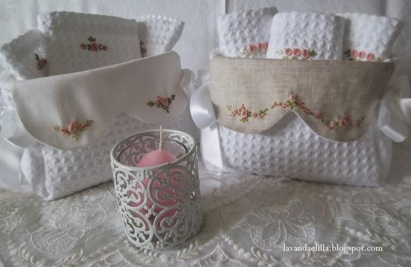 Lavanda e lill cestini da bagno con lavette - Cestini per bagno ...