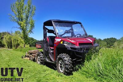 Polaris RANGER XP 900 with towable rough cut mower