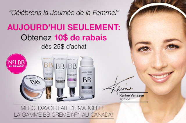 marcelle rabais coupon journée internationale femme 8 mars 2013 karine vanasse promo gratuit