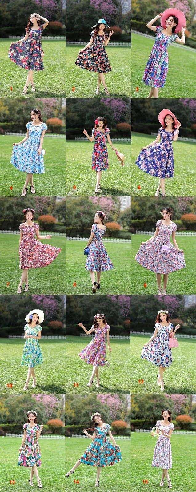 New Short Sleeve Elastic Waist Full Bloom Flowers Cotton Dress
