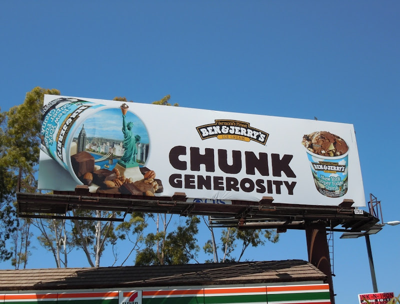Ben and Jerry's NY Super Fudge Chunk billboard
