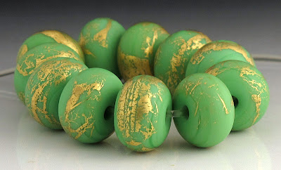 Mosaic green etched lampwork glass beads