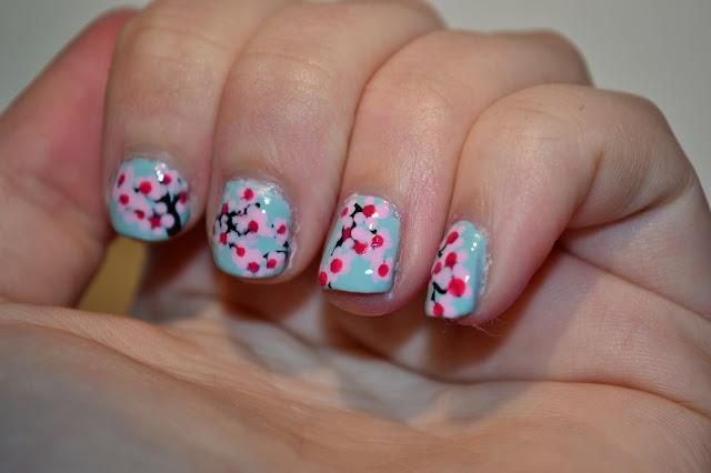 Cherry Blossom Träd Nail Art av Elins Naglar