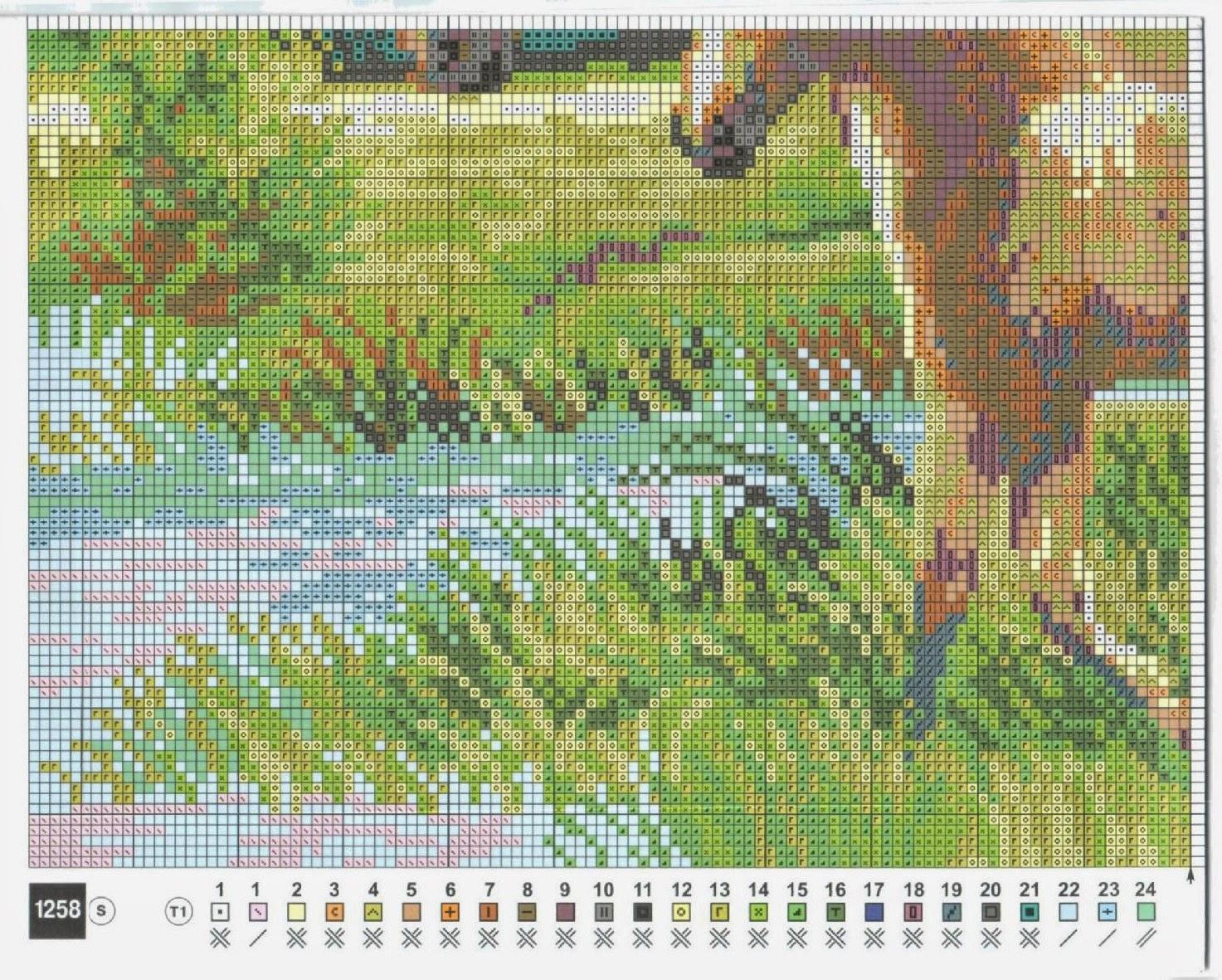 Лошадь с жеребенком схема вышивки фото 541