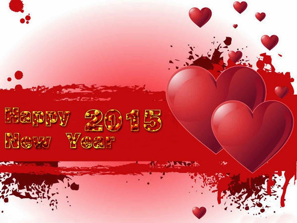 Heart Shape Happy New Year Greeting Cards 2015 Images