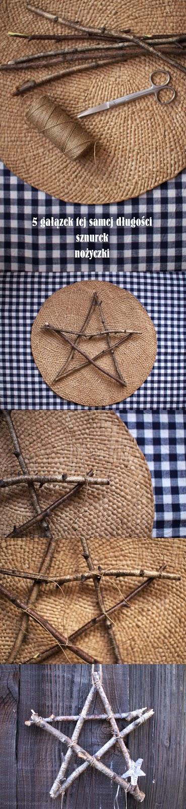 instrukcja jak zrobić gwiazdki z sosnowych gałązek, świąteczne ozdoby,