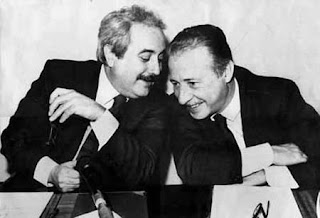 Giovanni Falcone left and Paolo Borsellino magistrates against the Mafia murdered