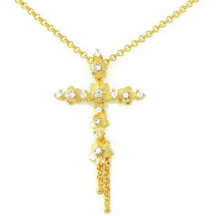 pingente cruz folheado a ouro
