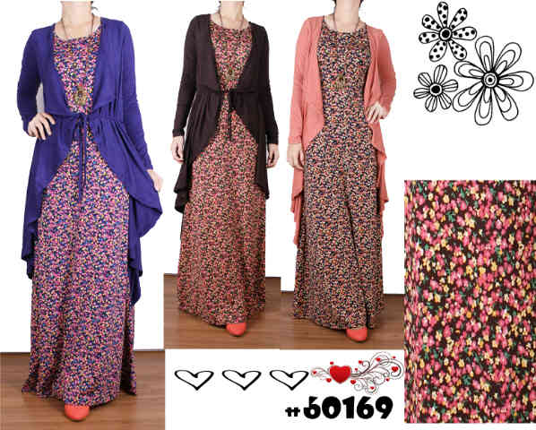 Busana Muslim Maxi Dress Flower Cardi Layer Hijab