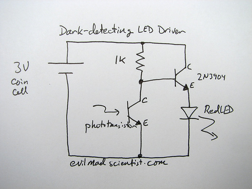 photodiode wiring diagram with Simple And Cheap Dark Detecting Led on Ir sensor moreover Ir Sensor Schematic Symbol besides Light Sensing Diode Schematic likewise Elektronik Hobi Devreler as well Optokoppler.