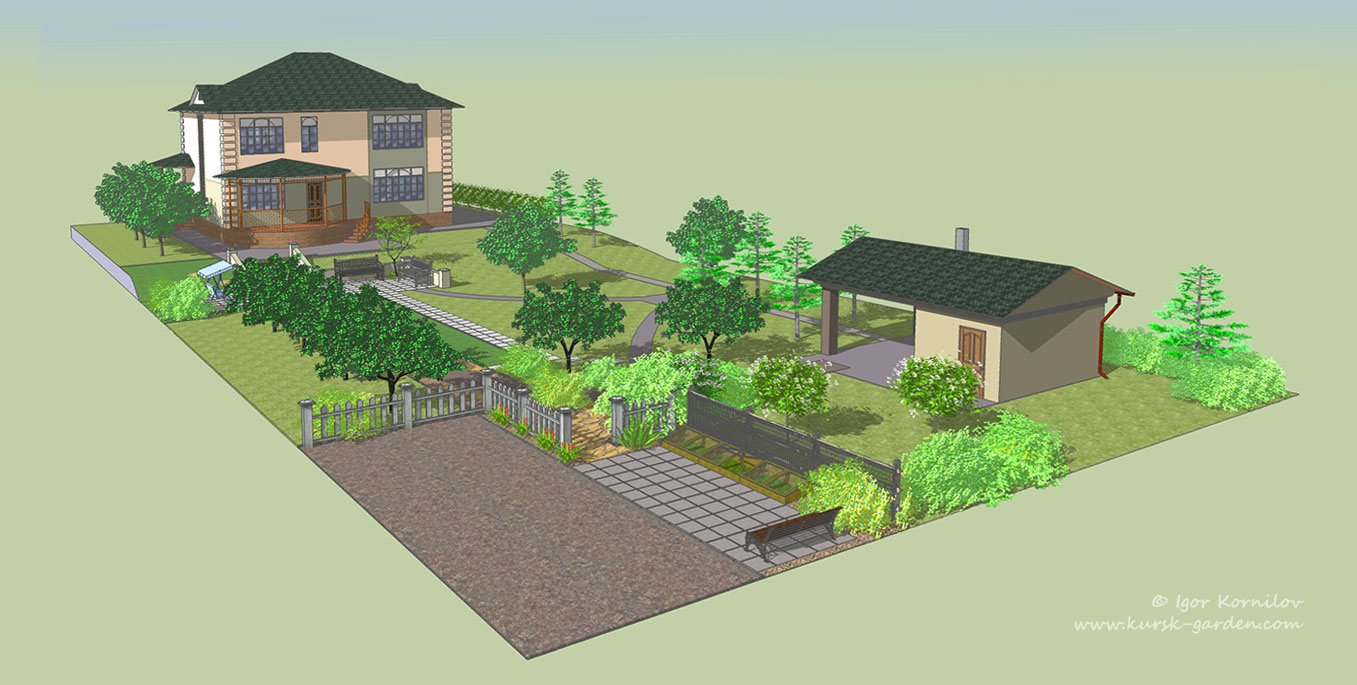 Ландшафтный проект сада, общий вид