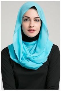 model jilbab segi empat pashmina turquoise
