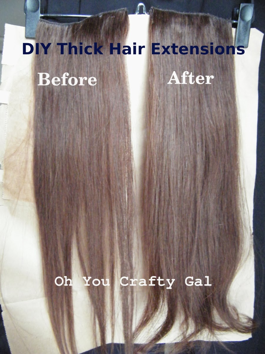 Oh you crafty gal how to make your clip on hair extensions thicker my extensions before and after sewing two wefts together pmusecretfo Choice Image
