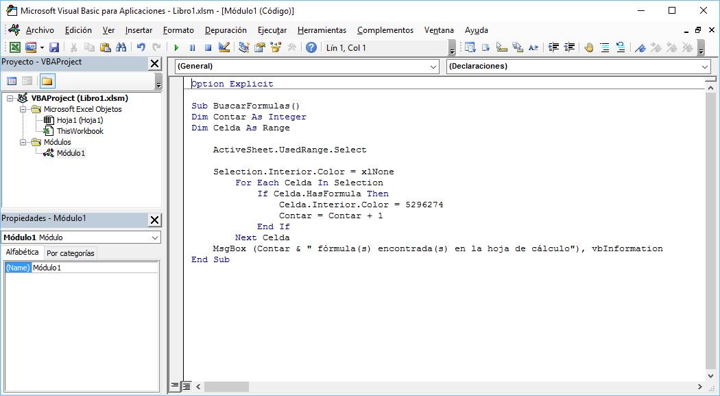 Expandiendo Excel: Macro para encontrar fórmulas en una hoja de cálculo