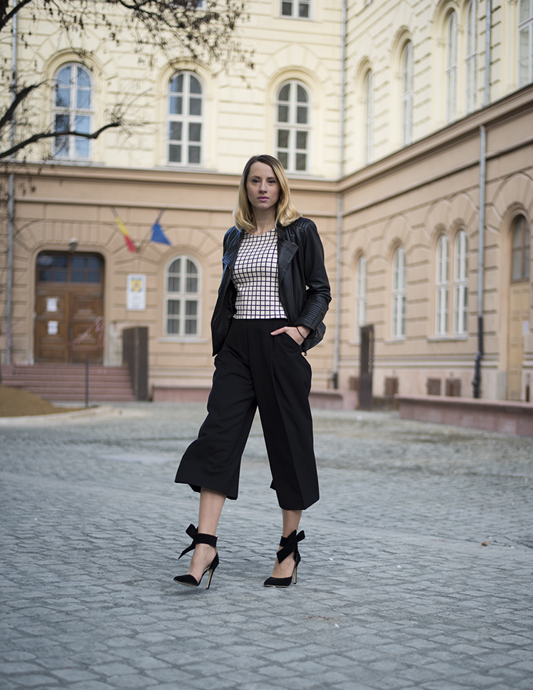 Skinny Buddha black and white outift culottes