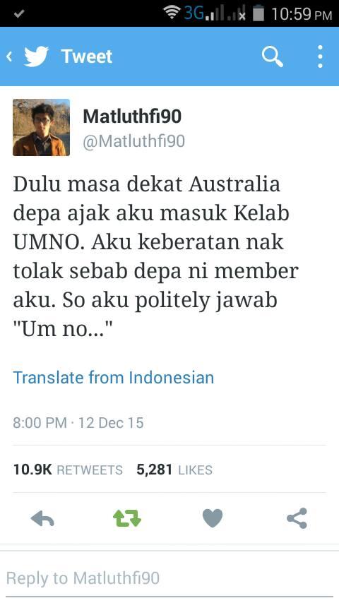 Mat Luthfi Tolak Umno