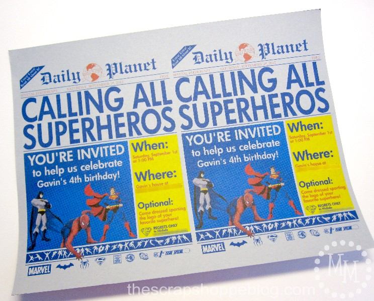 Superhero Newspaper Birthday Invitation The Scrap Shoppe - Free birthday invitation templates superhero