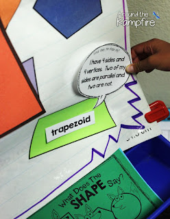 Seriously FUN Ways to Teach Shapes!  What Does the SHAPE Say? anchor chart/game board  Around the Kampfire