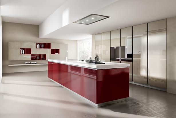 Cuisine design laqu e - Cuisine rouge brillant ...