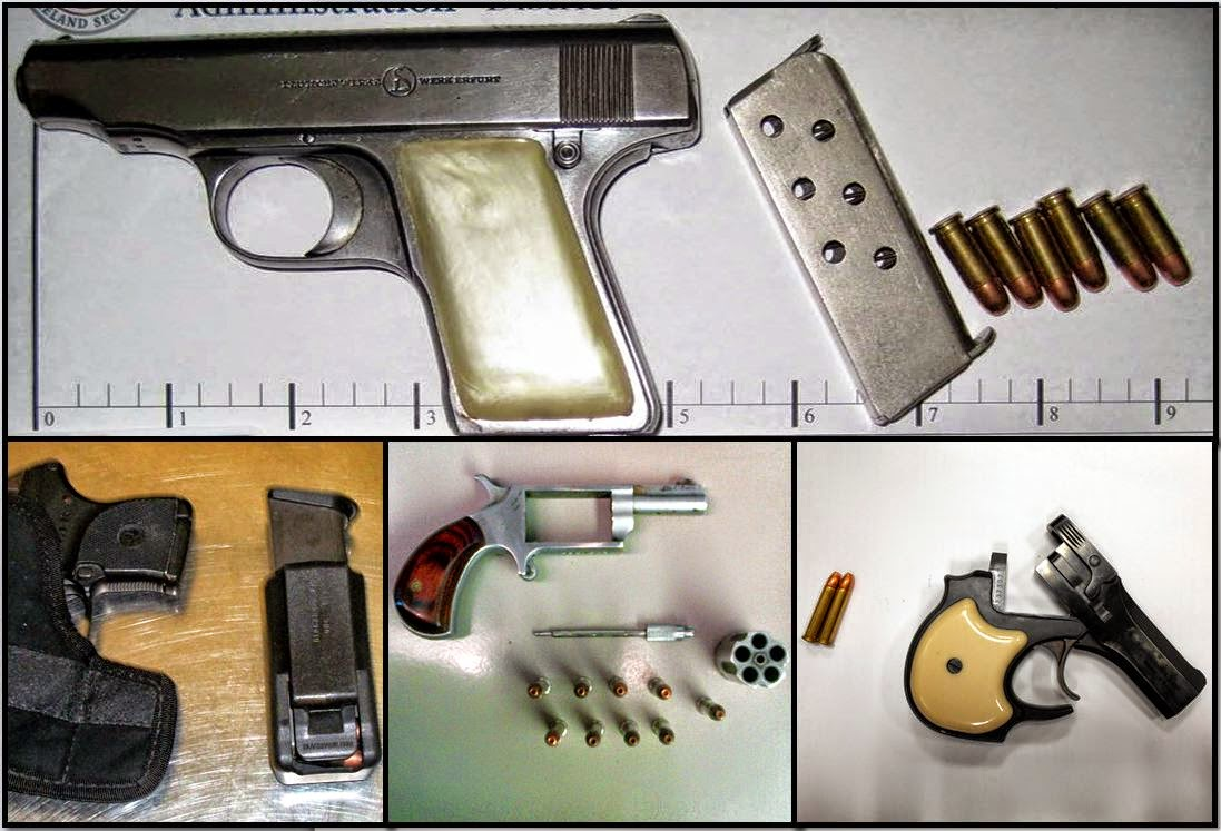(L-R /T-B) Guns Discovered at RFD, OKC, BNA, and SGF