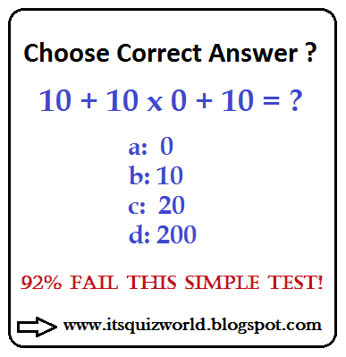 10 + 10 x 0 + 10 = ? ~ Quiz World