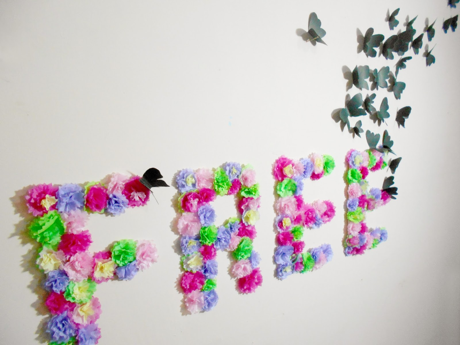 Diy paper flowers and butterflies wall art room for Art as decoration
