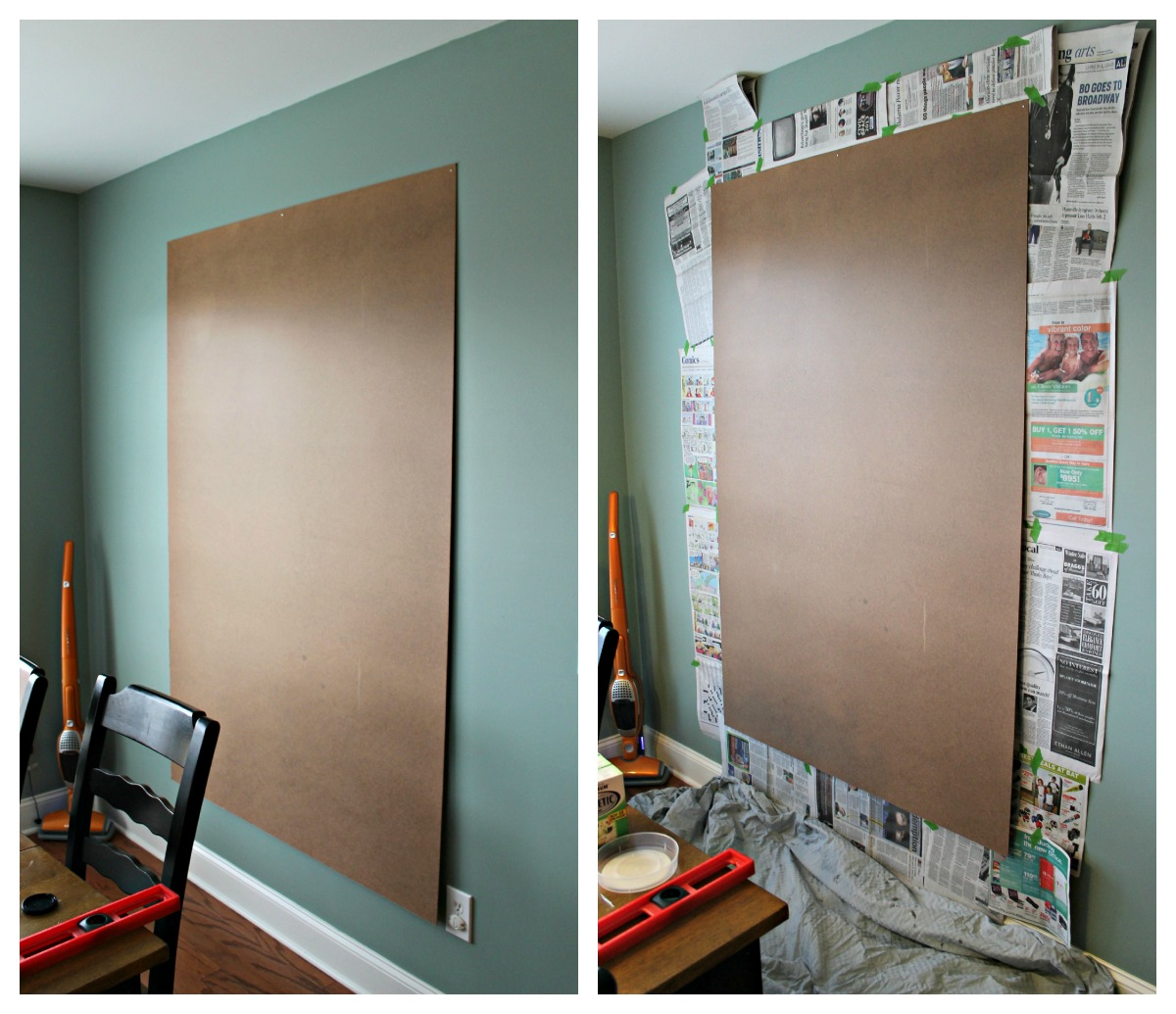 How to make an easy diy giant magnetic chalkboard for How to make teal paint