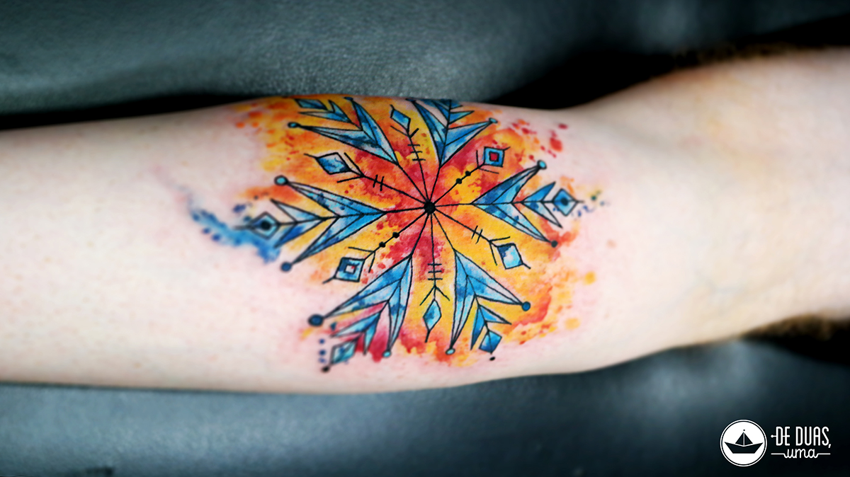 snowflake tattoo design watercolor