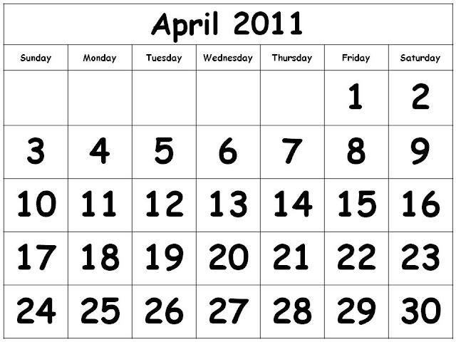 2011 calendar template with holidays. CALENDAR TEMPLATE 2011 APRIL