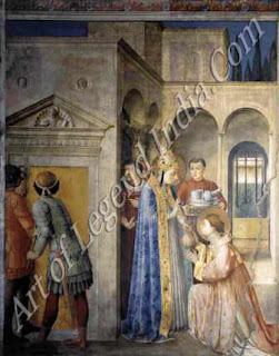 "The Great Artist Fra Angelico Painting ""St Lawrence receiving the Treasures of the Church"" c.144749 Fresco 107"" x 81"" Nicholas V Chapel, Vatican, Rome"