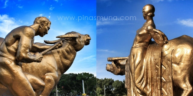 Sculptures in Bacolod: Man and the Beast (left); Woman and Water Buffalo (right)