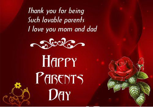 Beautiful Red Happy Parents's Card With Parents' Day Quotes From Daughter