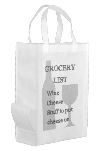 Wine Lover's Grocery List Reusable Bag