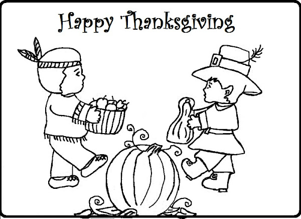Happy Thanksgiving Colouring Pages